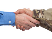 Handshake between a military personnel and a civilian